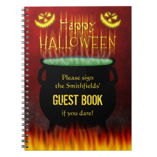 Halloween Party Cauldron Fire Guest Book