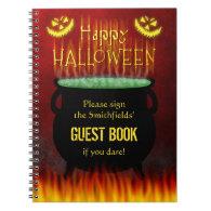Halloween Party Cauldron Fire Guest Book Spiral Notebook
