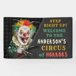 Halloween Party Circus Clown Scary Carnival Custom Banner