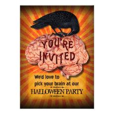 Halloween Party - Creepy Raven on Brain Custom Custom Invitation
