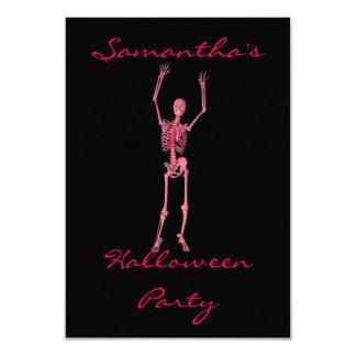 """Halloween Party"" - Dancing Pink Skeleton Card"