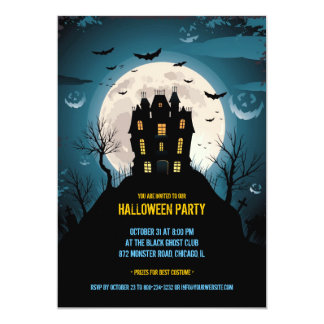 Halloween Party Flat Invitation Card
