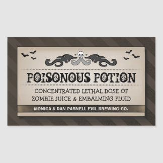 Halloween Party Food or Drink Black & Brown Label Rectangular Sticker