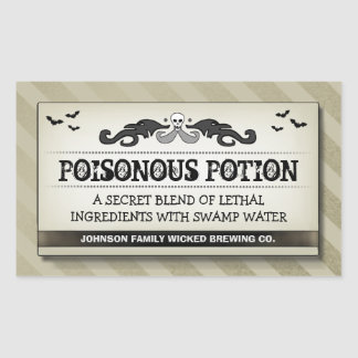 Halloween Party Food or Drink Light Tan Label Rectangular Sticker