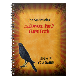 Halloween Party Gothic Raven Guest Notebook