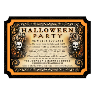 Halloween Party Gothic Style with Skulls Invite