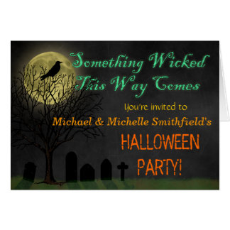 Halloween Party - Graveyard Crow and Moon Greeting Card