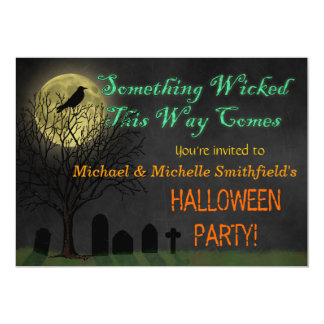 Halloween Party - Graveyard Crow and Moon 5x7 Paper Invitation Card