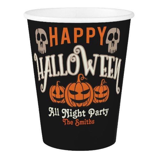 Halloween Party. Halloween Monster Pumpkins. Paper Cup