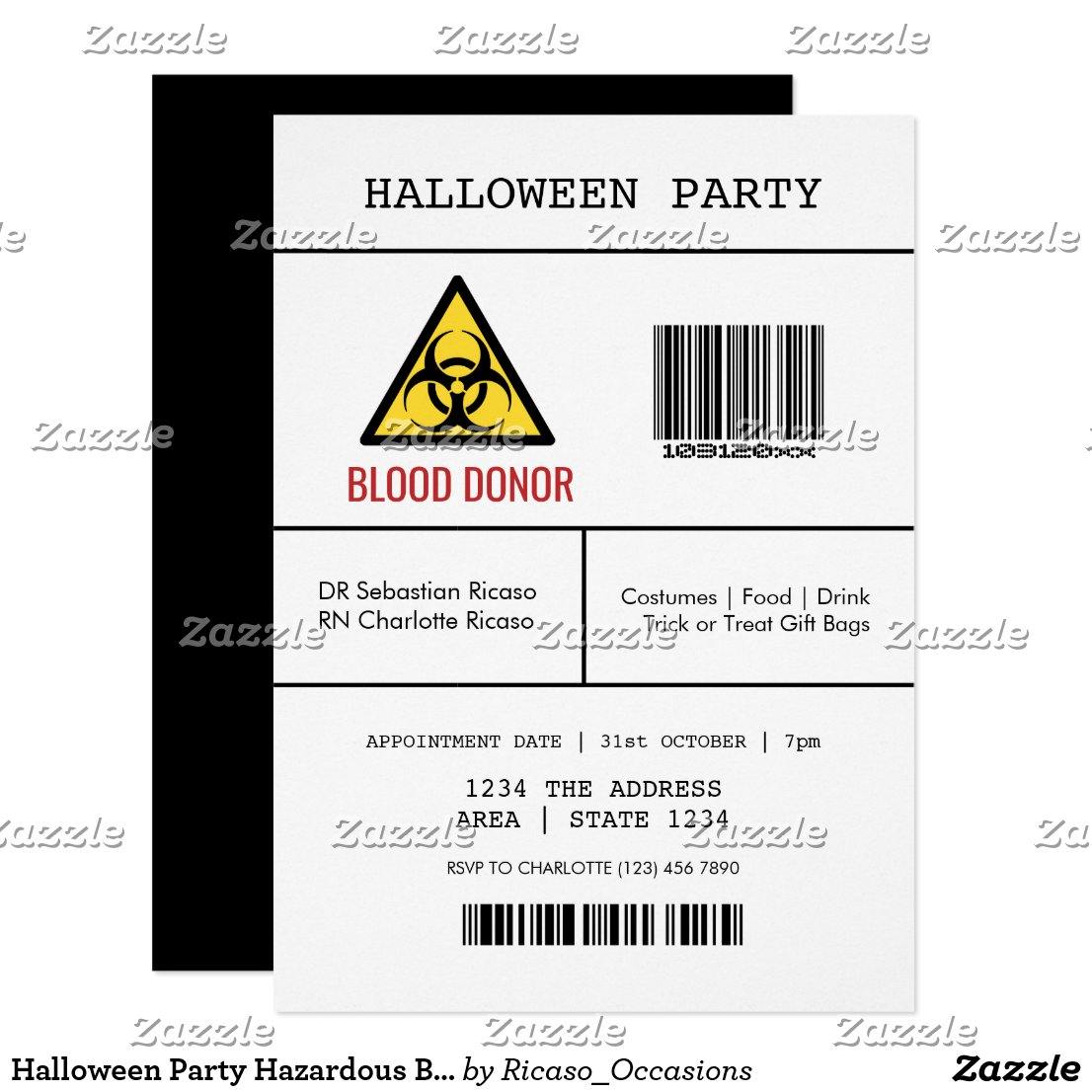 Halloween Party Hazardous Blood Donor Invitation