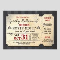 Halloween Party Horror Movie Night Film Ticket Invitation