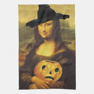 Halloween Party Host Gift Mona Lisa Witch Towel