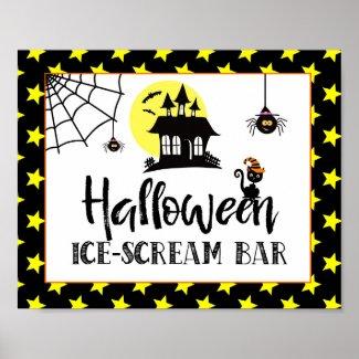 halloween party ice cream bar sign
