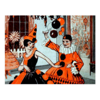 Halloween Party in Orange and Black Postcard