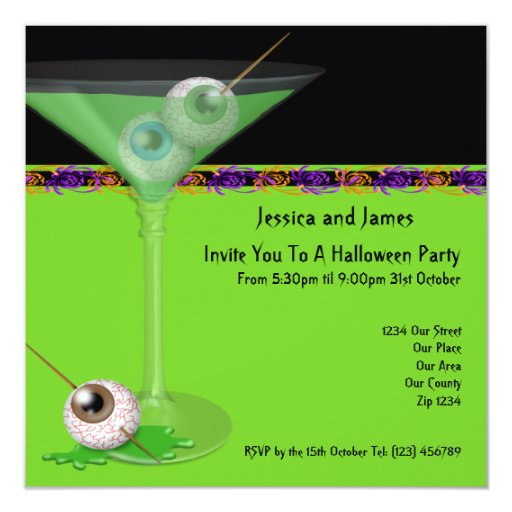Halloween Party 5.25x5.25 Square Paper Invitation Card