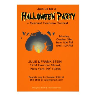 Halloween Party Invitation - Alien Camp Fire