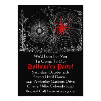 Halloween Party Invitation - Antique Spider Web