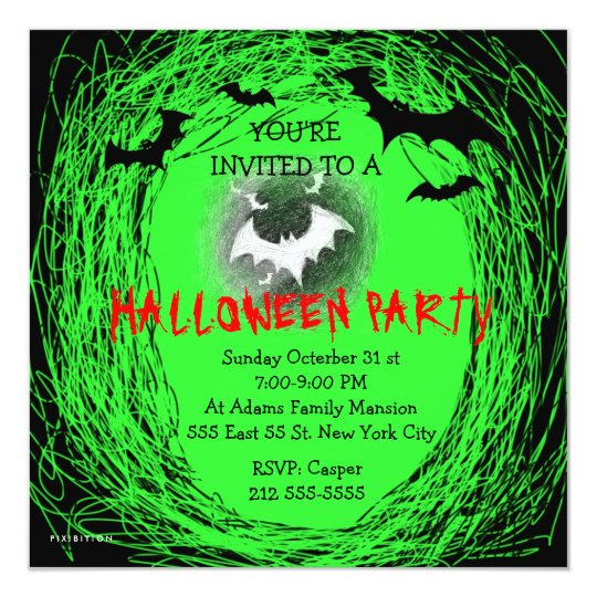 Halloween Party Invitation Bats Green