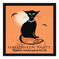 Halloween Party Invitation - Black Cat - Square