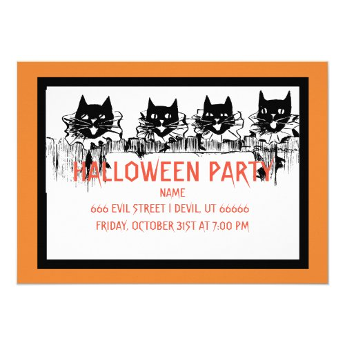 HALLOWEEN PARTY INVITATION BLACK CATS SINGING