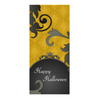 Halloween Party Invitation - Black & Gold Damask Customized Rack Card