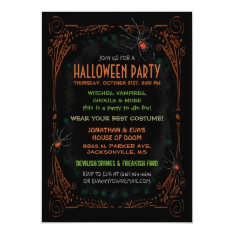 Halloween Party Invitation - Black Orange Spiders at Zazzle