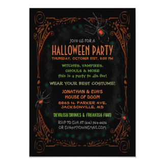 Halloween Party Invitation - Black Orange Spiders