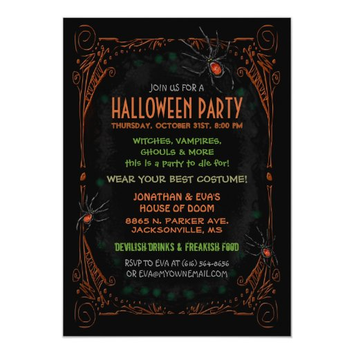 Halloween Party Invitation - Black Orange Spiders