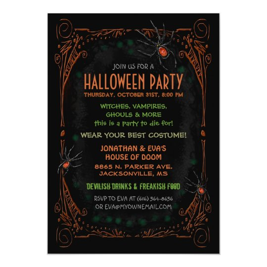Party Invitation Black Orange Spiders