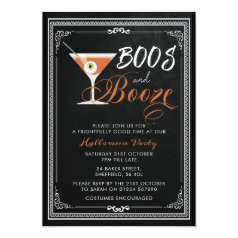 Halloween party invitation - boos and booze