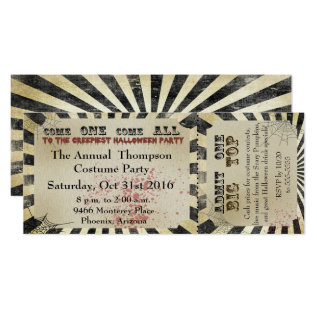 Halloween Party Invitation Circus Ticket at Zazzle