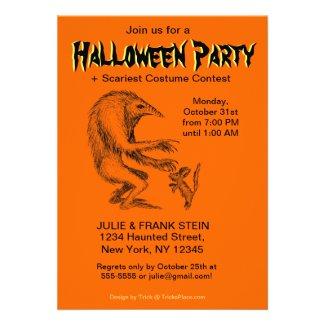 Halloween Party Invitation - Creature vs. Doggie