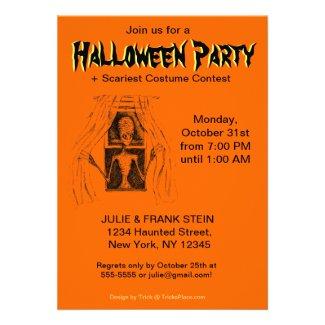 Halloween Party Invitation - Creepy Window Alien