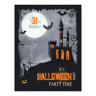 "Halloween Party Invitation (front and back) 4.25"" X 5.5"" Invitation Card"