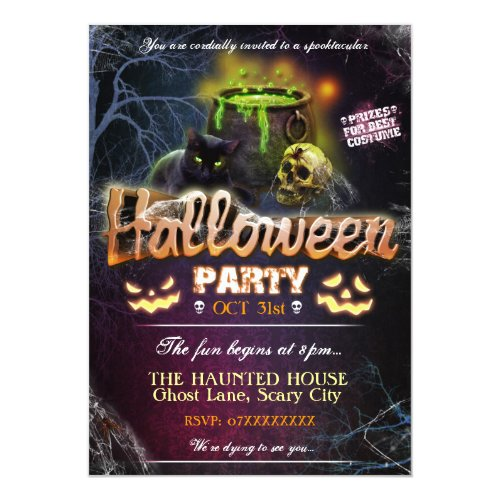 Halloween Party Invitation Fully Customisable