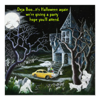 Halloween,party,invitation,ghosts,haunted,house Card