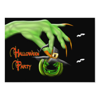 Halloween Party Invitation - Green Witch Hand