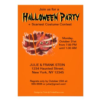 Halloween Party Invitation - Heart Monster