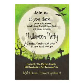 Halloween party invitation in green with moon