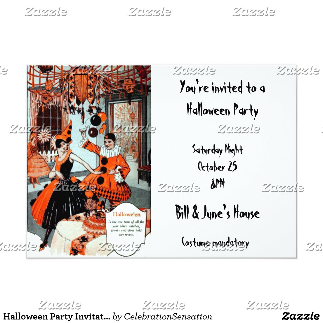 Halloween Party Invitation in Orange and Black