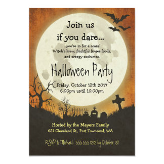 Halloween party invitation in orange with moon