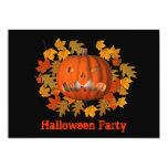 "Halloween Party Invitation Jack O Lantern Leaves 5"" X 7"" Invitation Card"