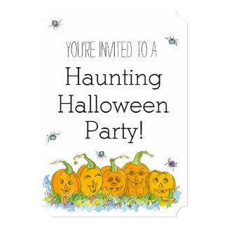 Halloween Party Invitation Jack-O-Lanterns Spiders