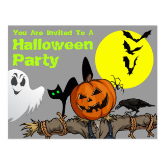 Halloween Party Invitation Post Card