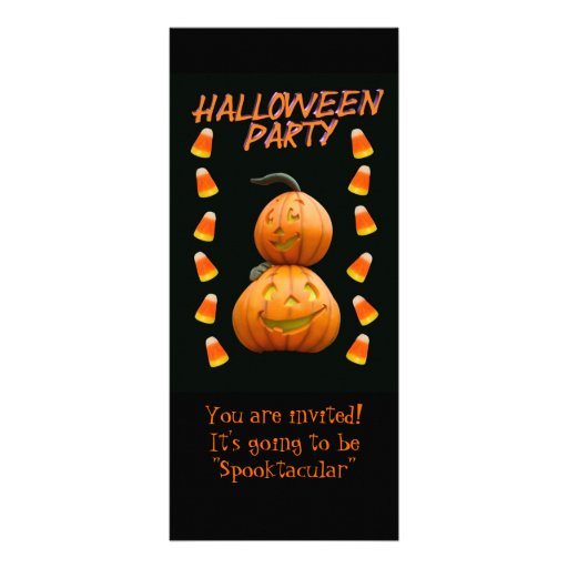 Halloween party invitation pumpkins and candy full color rack card
