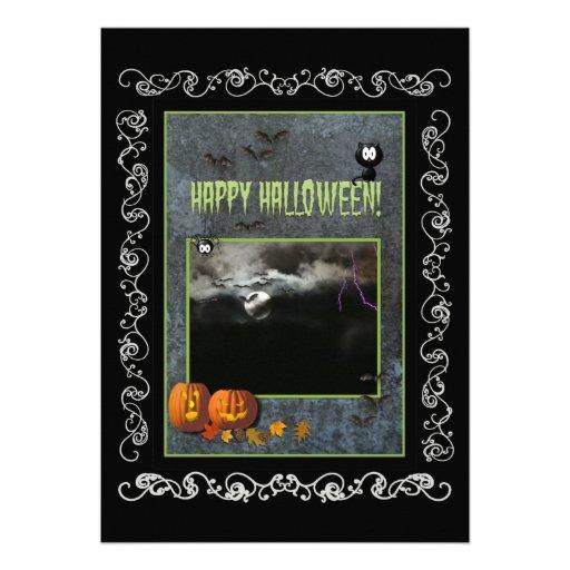 Halloween Party Invitation-Pumpkins/Full Moon/Bats