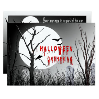 Halloween Party Invitation - Silohoutte Trees/Moon