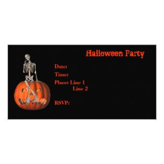 Halloween Party Invitation Skeleton Pumpkin Card Photo Card