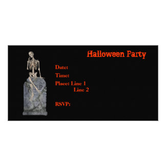 Halloween Party Invitation Skeleton Tombstone Card