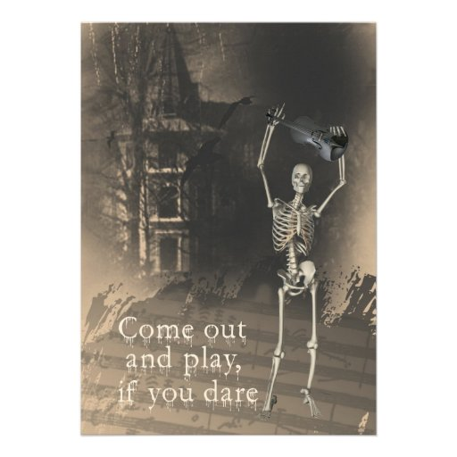 Halloween Party Invitation, Skeleton with Violin